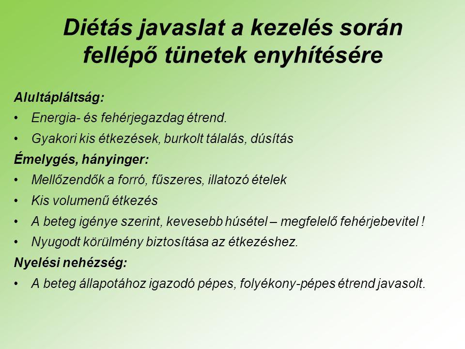 Diétás javaslat a kezelés során fellépő tünetek enyhítésére Alultápláltság: •Energia- és fehérjegazdag étrend.