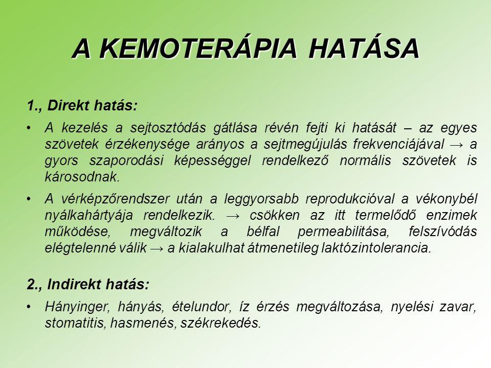 A KEMOTERÁPIA HATÁSA 1., Direkt hatás: •A kezelés a sejtosztódás gátlása révén fejti ki hatását – az egyes szövetek érzékenysége arányos a sejtmegújulás frekvenciájával → a gyors szaporodási képességgel rendelkező normális szövetek is károsodnak.