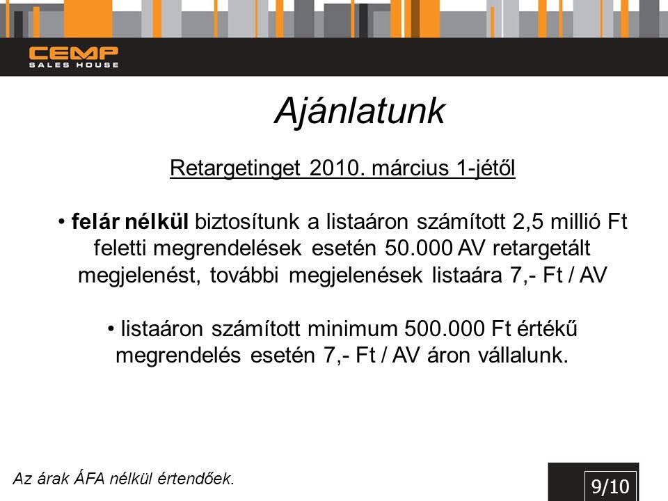 9/10 Ajánlatunk Retargetinget 2010. március 1-jétől • felár nélkül biztosítunk a listaáron számított 2,5 millió Ft feletti megrendelések esetén 50.000