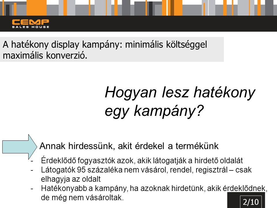 A hatékony display kampány: minimális költséggel maximális konverzió. 2/10 Hogyan lesz hatékony egy kampány? Annak hirdessünk, akit érdekel a termékün