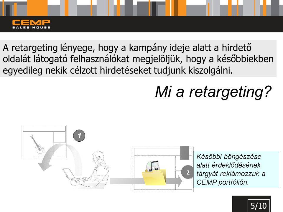 A retargeting lényege, hogy a kampány ideje alatt a hirdető oldalát látogató felhasználókat megjelöljük, hogy a későbbiekben egyedileg nekik célzott h