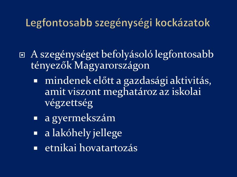  A szegénységet befolyásoló legfontosabb tényezők Magyarországon  mindenek előtt a gazdasági aktivitás, amit viszont meghatároz az iskolai végzettség  a gyermekszám  a lakóhely jellege  etnikai hovatartozás