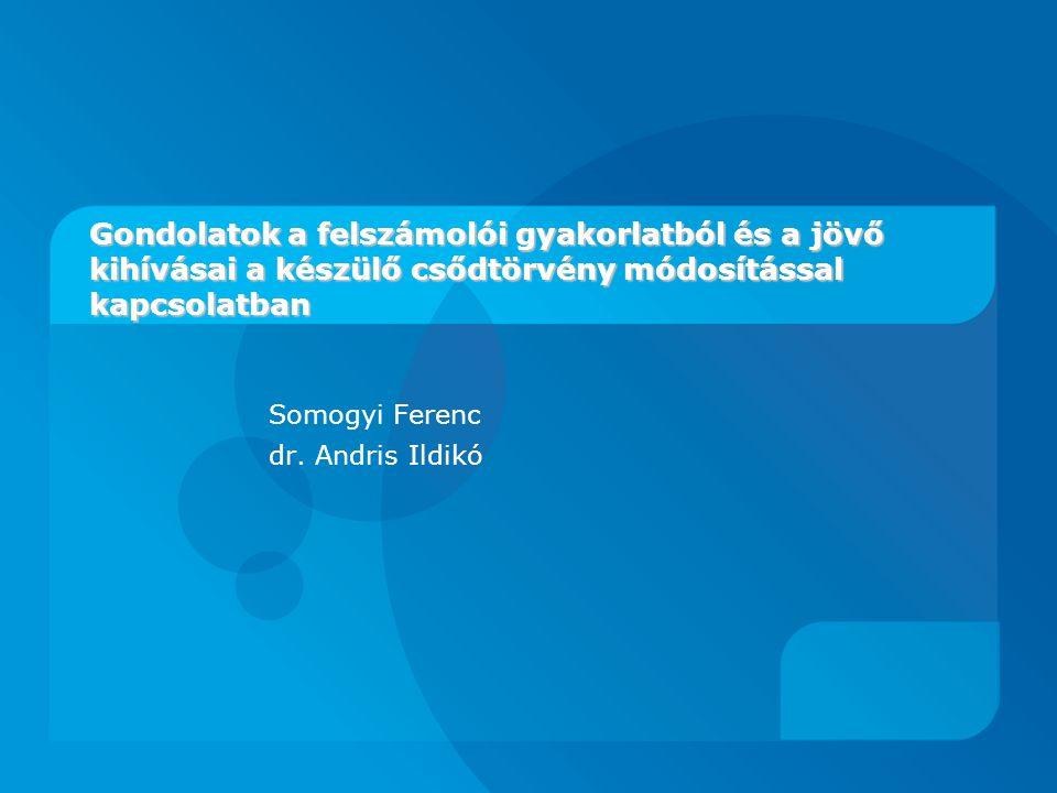 Gondolatok a felszámolói gyakorlatból és a jövő kihívásai a készülő csődtörvény módosítással kapcsolatban Somogyi Ferenc dr.