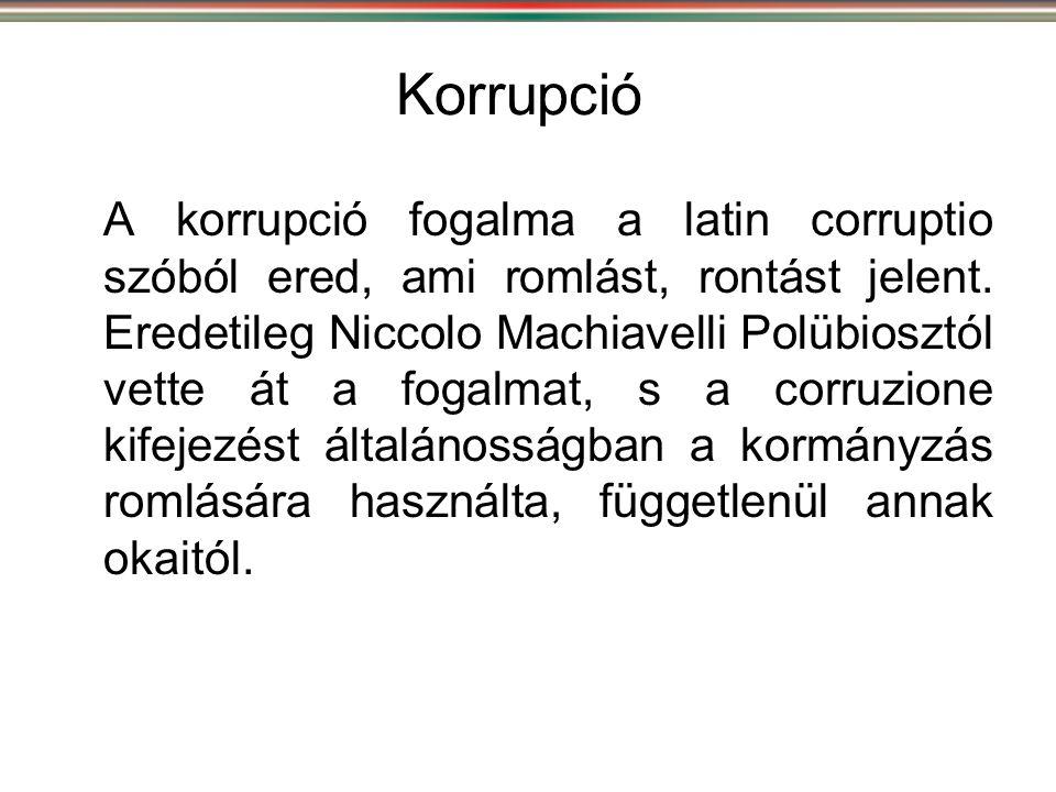 Korrupció A korrupció fogalma a latin corruptio szóból ered, ami romlást, rontást jelent. Eredetileg Niccolo Machiavelli Polübiosztól vette át a fogal