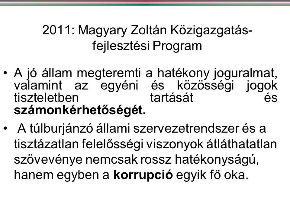 2011: Magyary Zoltán Közigazgatás- fejlesztési Program •A jó állam megteremti a hatékony joguralmat, valamint az egyéni és közösségi jogok tiszteletbe
