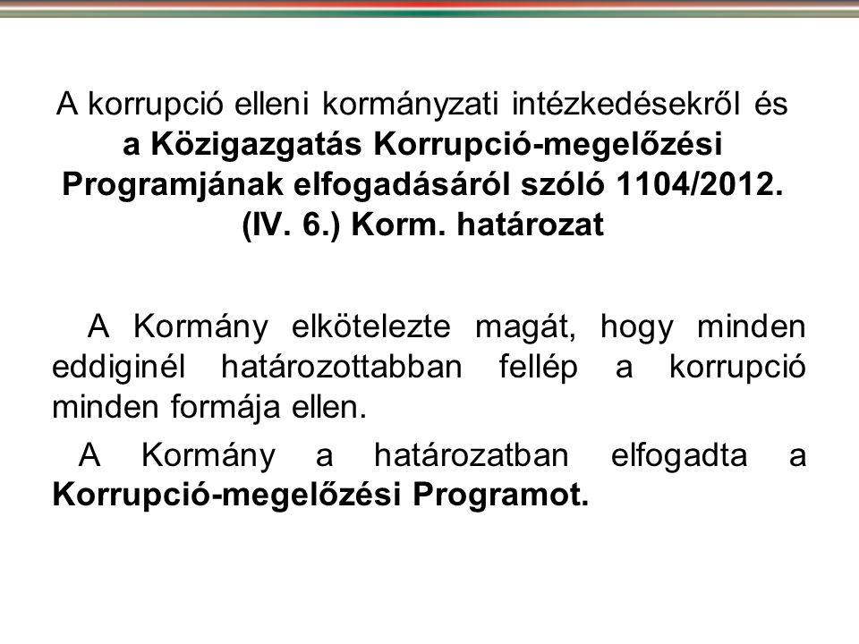 A korrupció elleni kormányzati intézkedésekről és a Közigazgatás Korrupció-megelőzési Programjának elfogadásáról szóló 1104/2012. (IV. 6.) Korm. határ
