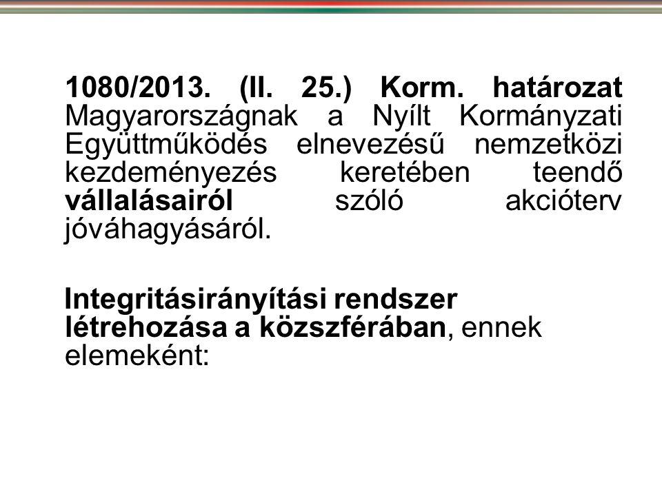 1080/2013. (II. 25.) Korm. határozat Magyarországnak a Nyílt Kormányzati Együttműködés elnevezésű nemzetközi kezdeményezés keretében teendő vállalásai