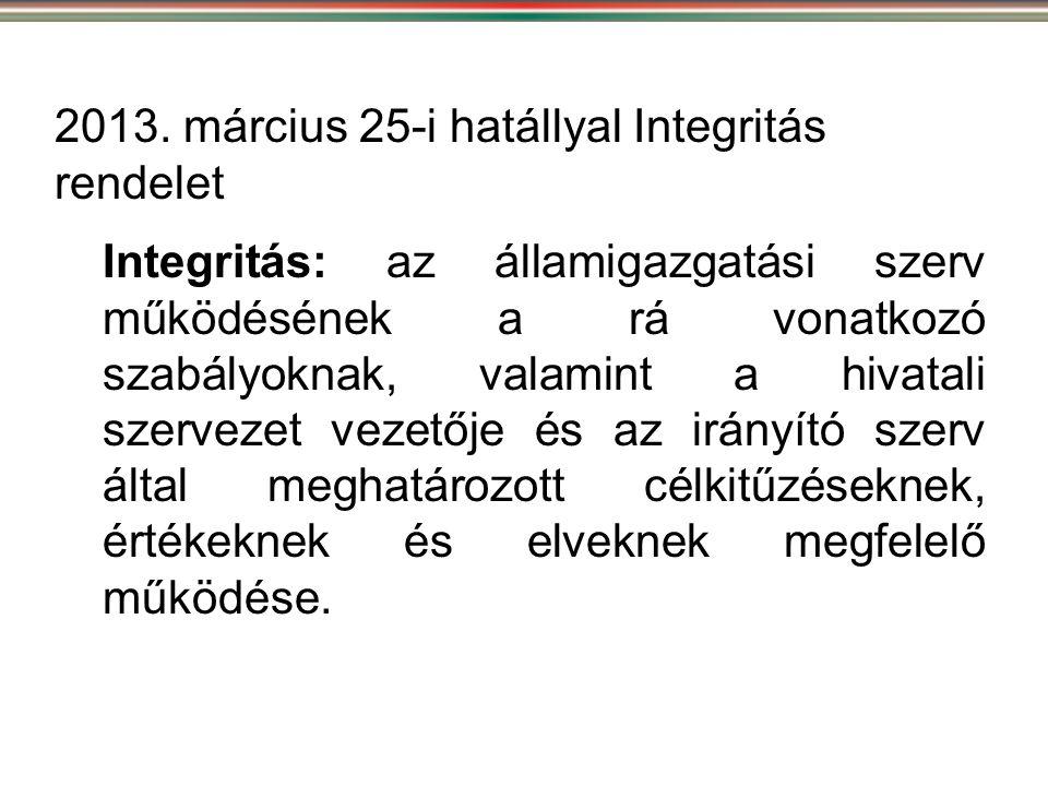 Integritás: az államigazgatási szerv működésének a rá vonatkozó szabályoknak, valamint a hivatali szervezet vezetője és az irányító szerv által meghat
