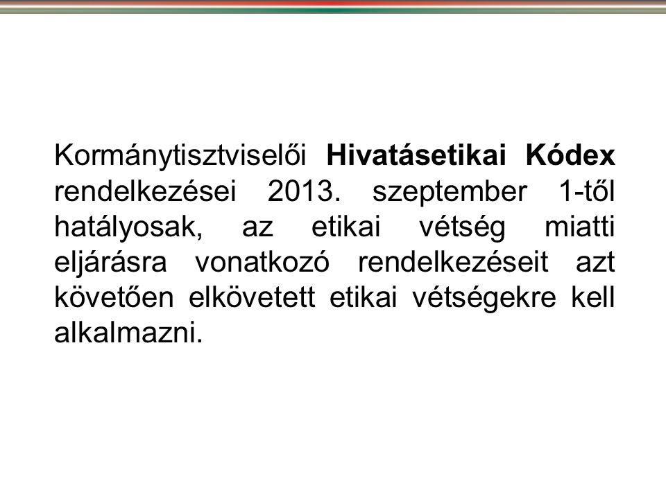 Kormánytisztviselői Hivatásetikai Kódex rendelkezései 2013. szeptember 1-től hatályosak, az etikai vétség miatti eljárásra vonatkozó rendelkezéseit az