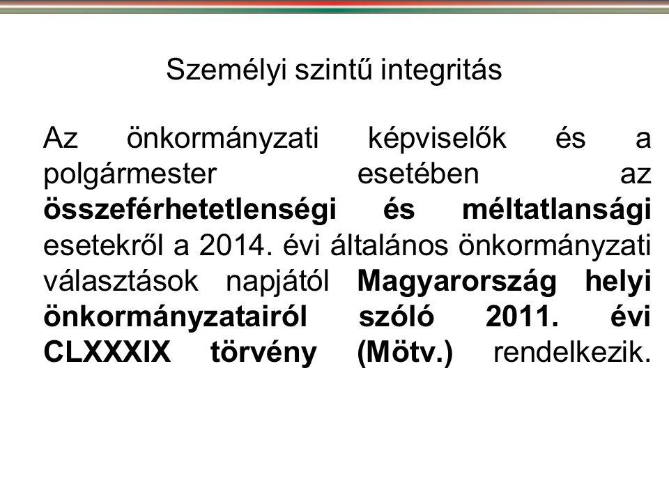 Személyi szintű integritás Az önkormányzati képviselők és a polgármester esetében az összeférhetetlenségi és méltatlansági esetekről a 2014. évi által
