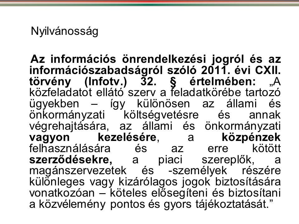 """Nyilvánosság Az információs önrendelkezési jogról és az információszabadságról szóló 2011. évi CXII. törvény (Infotv.) 32. § értelmében: """"A közfeladat"""