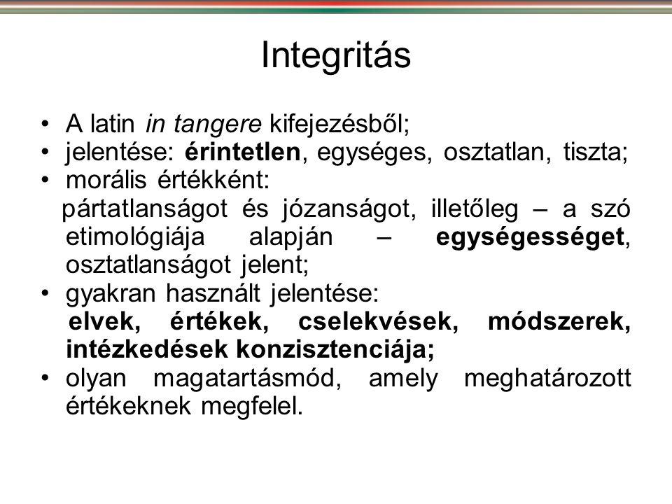 Integritás •A latin in tangere kifejezésből; •jelentése: érintetlen, egységes, osztatlan, tiszta; •morális értékként: pártatlanságot és józanságot, il