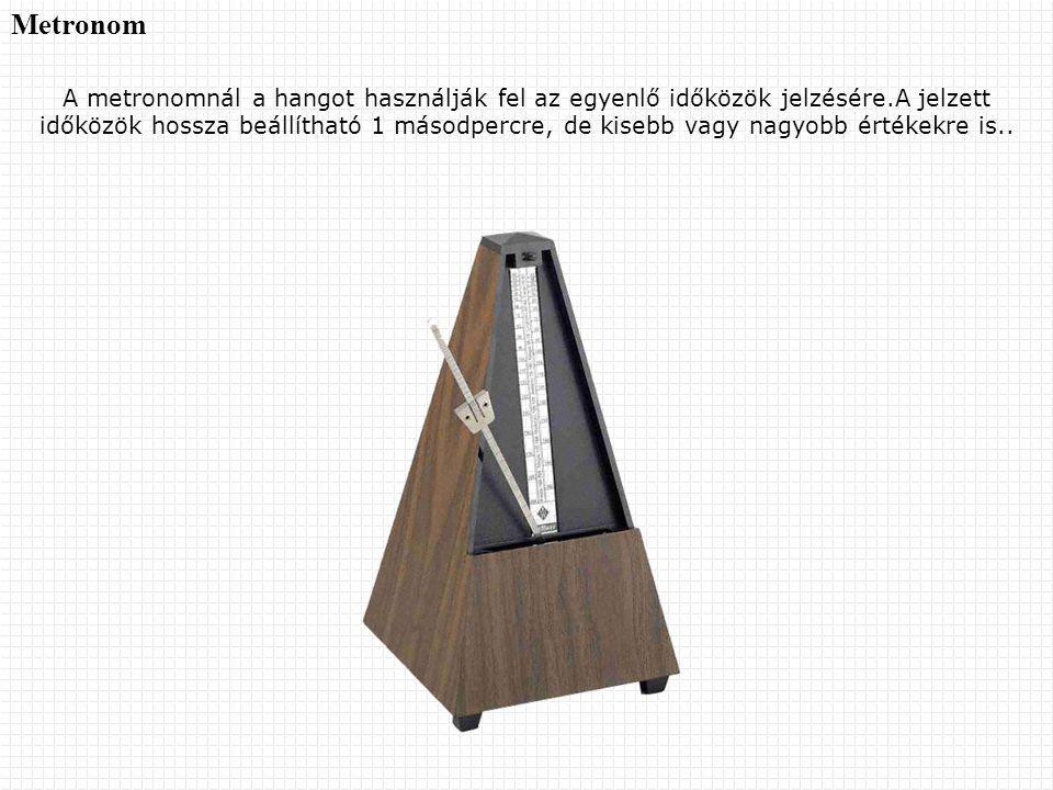 Metronom A metronomnál a hangot használják fel az egyenlő időközök jelzésére.A jelzett időközök hossza beállítható 1 másodpercre, de kisebb vagy nagyo