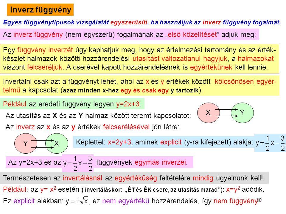 10 Inverz függvény Egyes függvénytípusok vizsgálatát egyszerűsíti, ha használjuk az inverz függvény fogalmát. Az inverz függvény (nem egyszerű) fogalm