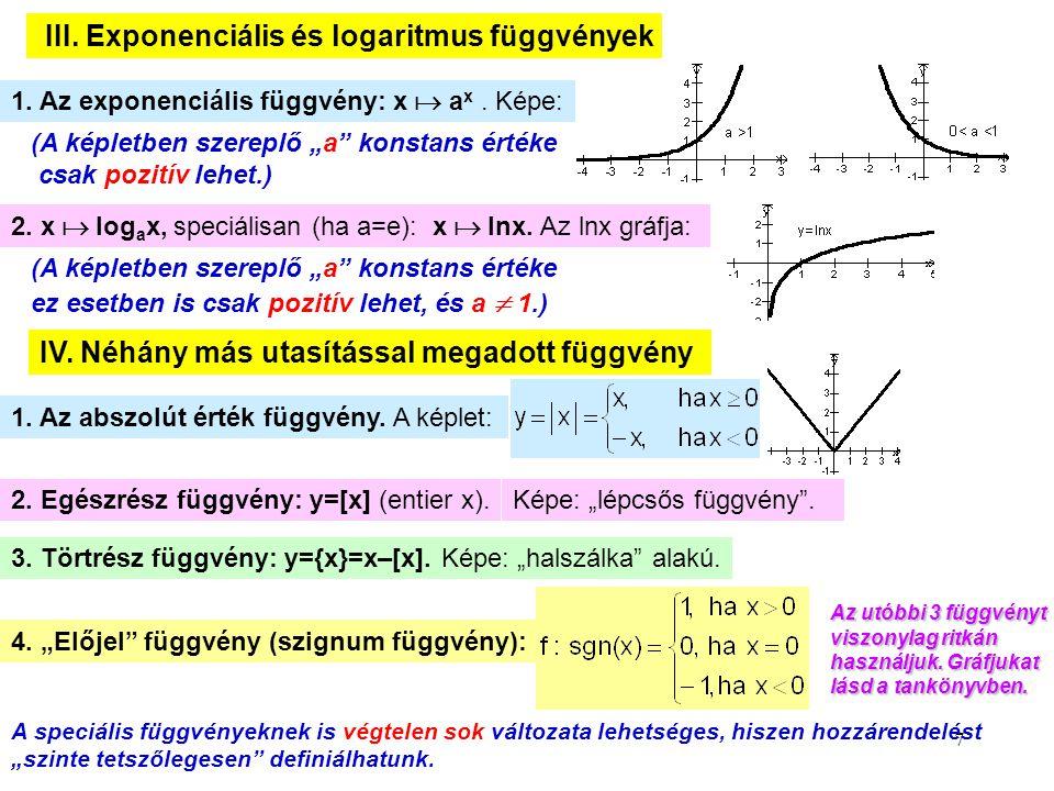 """7 III. Exponenciális és logaritmus függvények 1. Az exponenciális függvény: x  a x. Képe: (A képletben szereplő """"a"""" konstans értéke ez esetben is csa"""