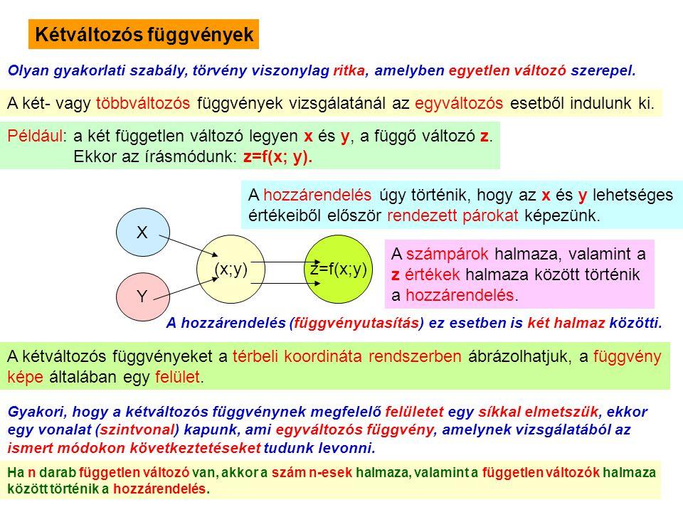 9 Kétváltozós függvények Olyan gyakorlati szabály, törvény viszonylag ritka, amelyben egyetlen változó szerepel. A két- vagy többváltozós függvények v