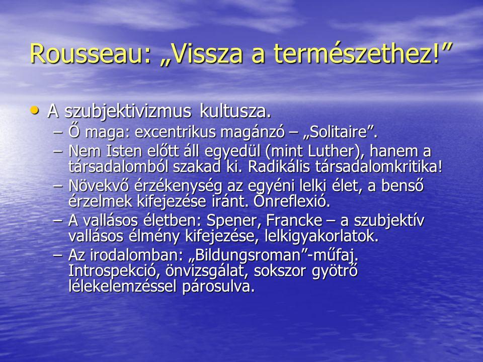 """Rousseau: """"Vissza a természethez!"""" • A szubjektivizmus kultusza. –Ő maga: excentrikus magánzó – """"Solitaire"""". –Nem Isten előtt áll egyedül (mint Luther"""