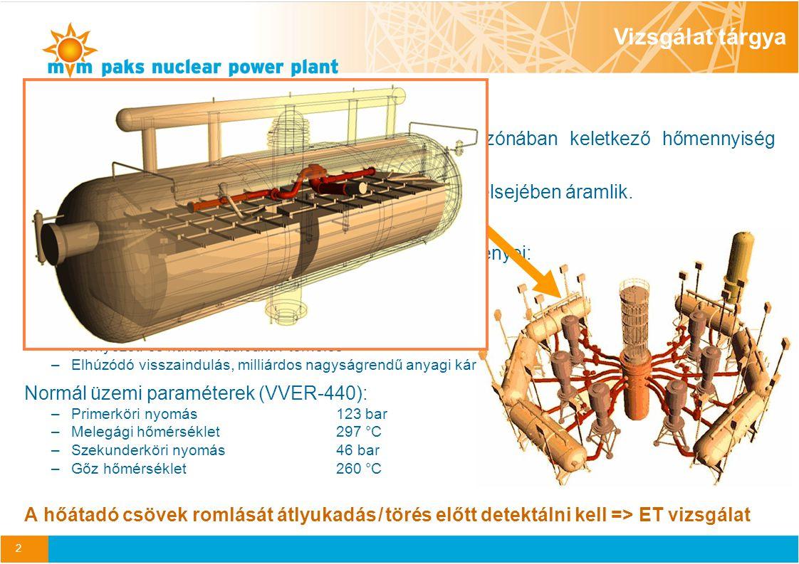 2 Gőzfejlesztő hőátadó cső A gőzfejlesztőkön keresztül valósul meg az aktív zónában keletkező hőmennyiség szekunder körbe – a turbinák felé – történő átadása.