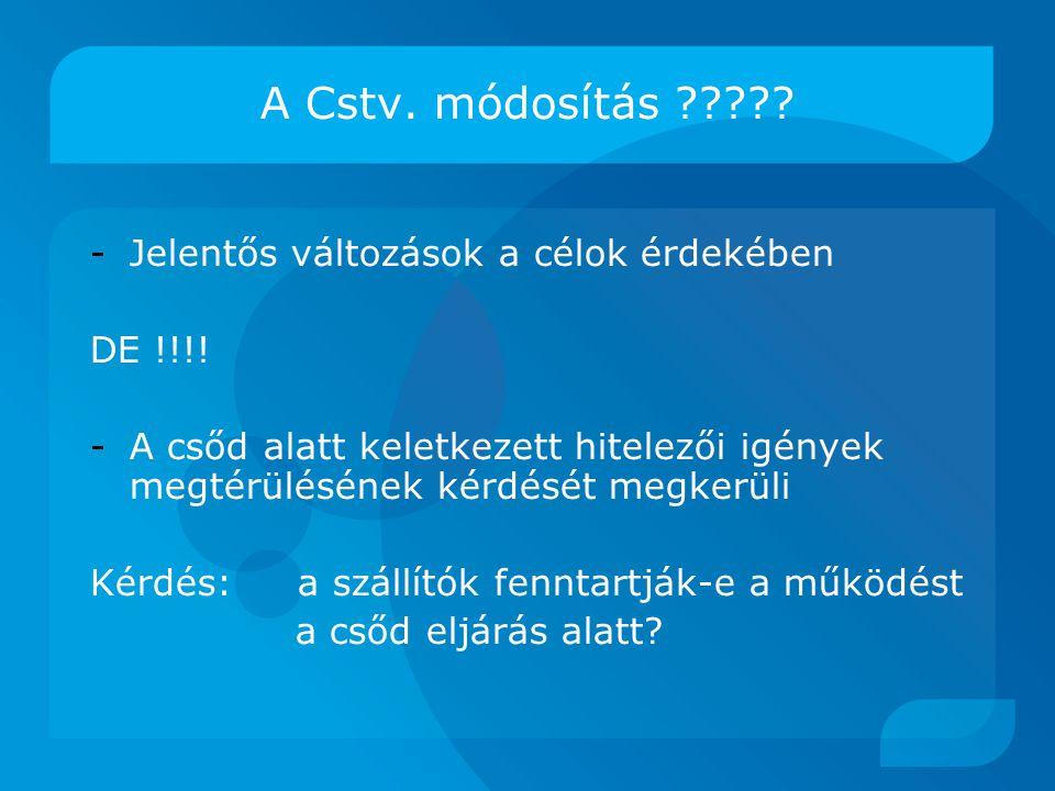 A Cstv.módosítás ????. -Jelentős változások a célok érdekében DE !!!.