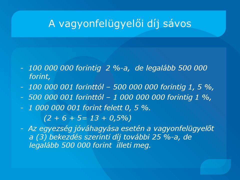 A vagyonfelügyelői díj sávos - 100 000 000 forintig 2 %-a, de legalább 500 000 forint, - 100 000 001 forinttól – 500 000 000 forintig 1, 5 %, - 500 000 001 forinttól – 1 000 000 000 forintig 1 %, - 1 000 000 001 forint felett 0, 5 %.