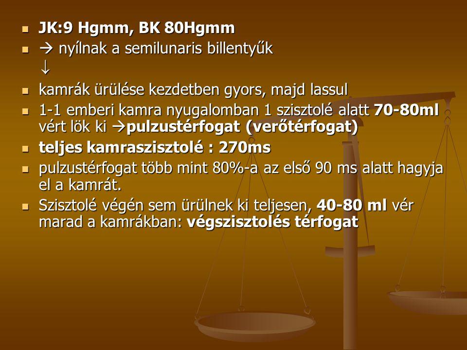  JK:9 Hgmm, BK 80Hgmm   nyílnak a semilunaris billentyűk   kamrák ürülése kezdetben gyors, majd lassul  1-1 emberi kamra nyugalomban 1 szisztolé