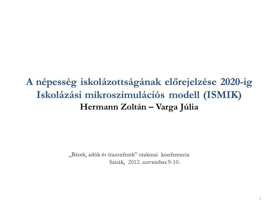 ▪ az ISMIK modell felépítése ▪ az előrejelzés alapverziójának eredményei ▪ iskolázottság a roma diákok nem romákhoz hasonló iskolai pályafutása esetén ▪ oktatáspolitikai intézkedések hatása - tankötelezettség változása, szakiskolai továbbtanulás növelésének hatása - felsőoktatási felvételi keretszámok korlátozásának hatása 2 Miről fogok beszélni