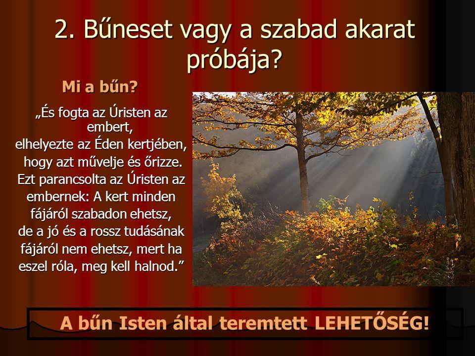 """2. Bűneset vagy a szabad akarat próbája? """"És fogta az Úristen az embert, elhelyezte az Éden kertjében, hogy azt művelje és őrizze. hogy azt művelje és"""