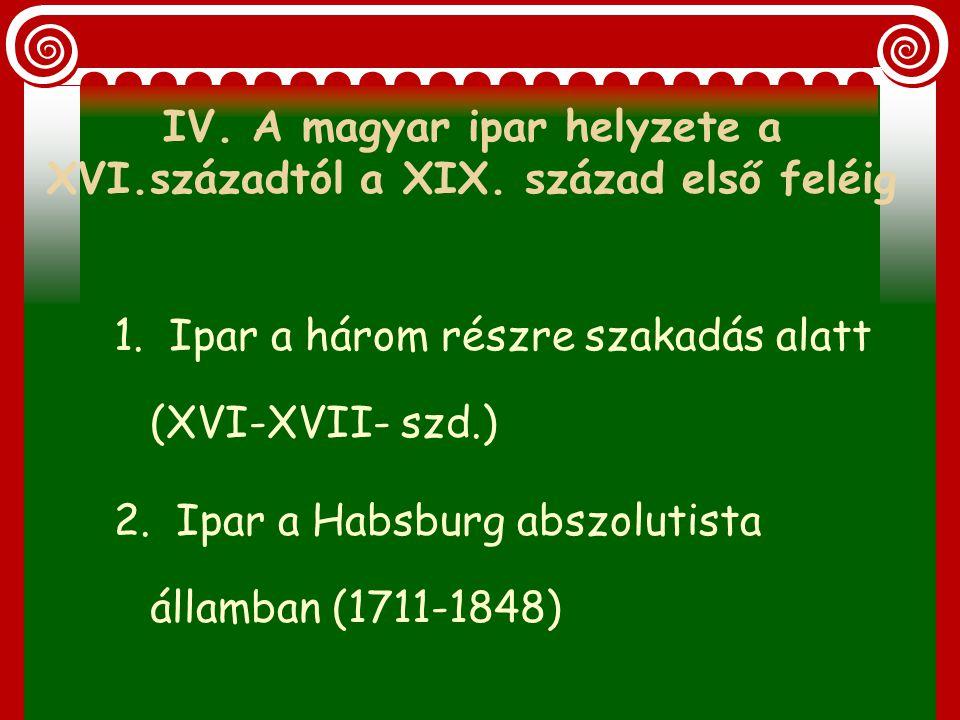 IV. A magyar ipar helyzete a XVI. századtól a XIX. század első feléig