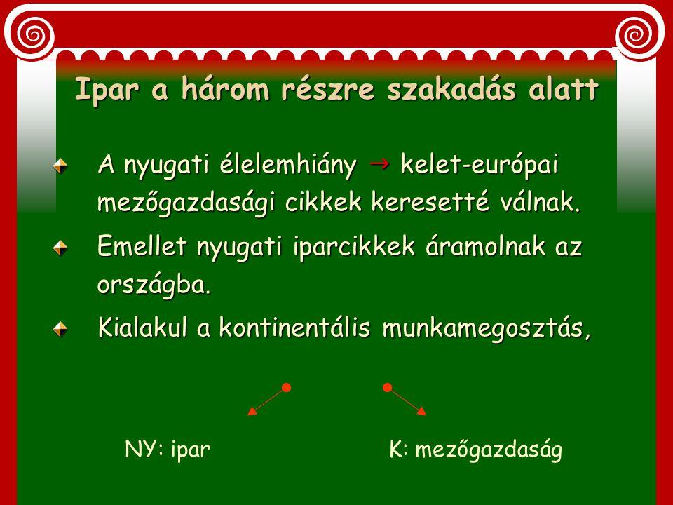1. Ipar a három részre szakadás alatt (XVI-XVII- szd.) 2. Ipar a Habsburg abszolutista államban (1711-1848) IV. A magyar ipar helyzete a XVI.századtól