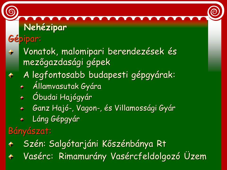 A közös vámterület-könnyűipar gyenge Húzóágazat az élelmiszeripar Malomipar: Az 1870-es évekre világszínvonalú lesz. Budapesten 12 nagy gőzmalom Acélh