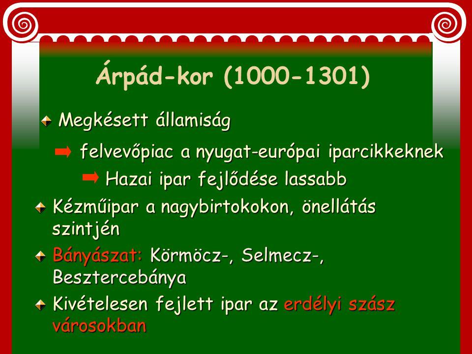 1. Árpád-kor (1000-1301) 2. Változások Károly Róbert alatt (XIV. sz.) 3. Iparfejlődés a Hunyadiak alatt (XV. sz.) II. Iparfejlődés a feudális Magyaror