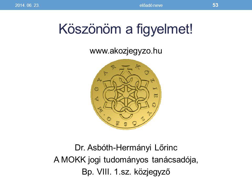 Köszönöm a figyelmet! www.akozjegyzo.hu Dr. Asbóth-Hermányi Lőrinc A MOKK jogi tudományos tanácsadója, Bp. VIII. 1.sz. közjegyző 2014. 06. 23.előadó n
