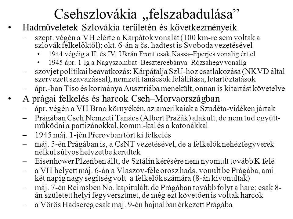 """Csehszlovákia """"felszabadulása"""" •Hadműveletek Szlovákia területén és következményeik –szept. végén a VH elérte a Kárpátok vonalát (100 km-re sem voltak"""