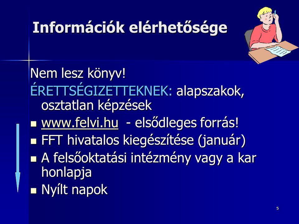 5 Információk elérhetősége Nem lesz könyv! ÉRETTSÉGIZETTEKNEK: alapszakok, osztatlan képzések  www.felvi.hu - elsődleges forrás! www.felvi.hu  FFT h