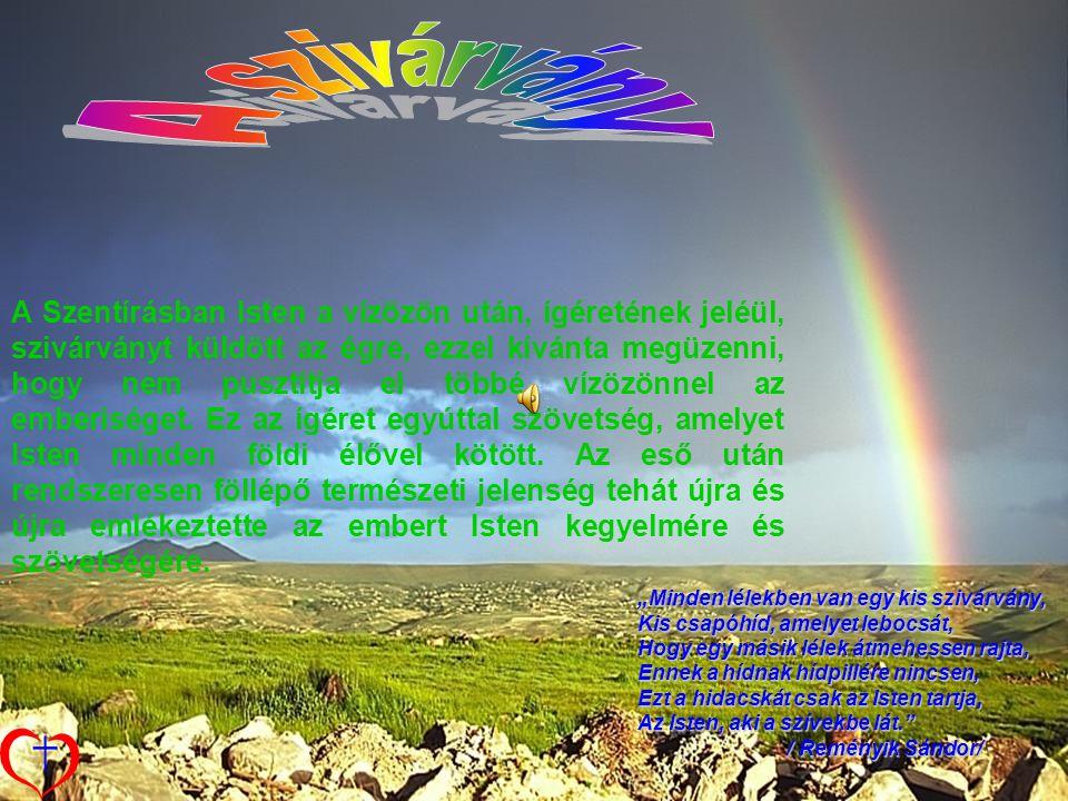 """""""Minden lélekben van egy kis szivárvány, Kis csapóhíd, amelyet lebocsát, Hogy egy másik lélek átmehessen rajta, Ennek a hídnak hídpillére nincsen, Ezt a hidacskát csak az Isten tartja, Az Isten, aki a szívekbe lát. / Reményik Sándor/ / Reményik Sándor/ A Szentírásban Isten a vízözön után, ígéretének jeléül, szivárványt küldött az égre, ezzel kívánta megüzenni, hogy nem pusztítja el többé vízözönnel az emberiséget."""