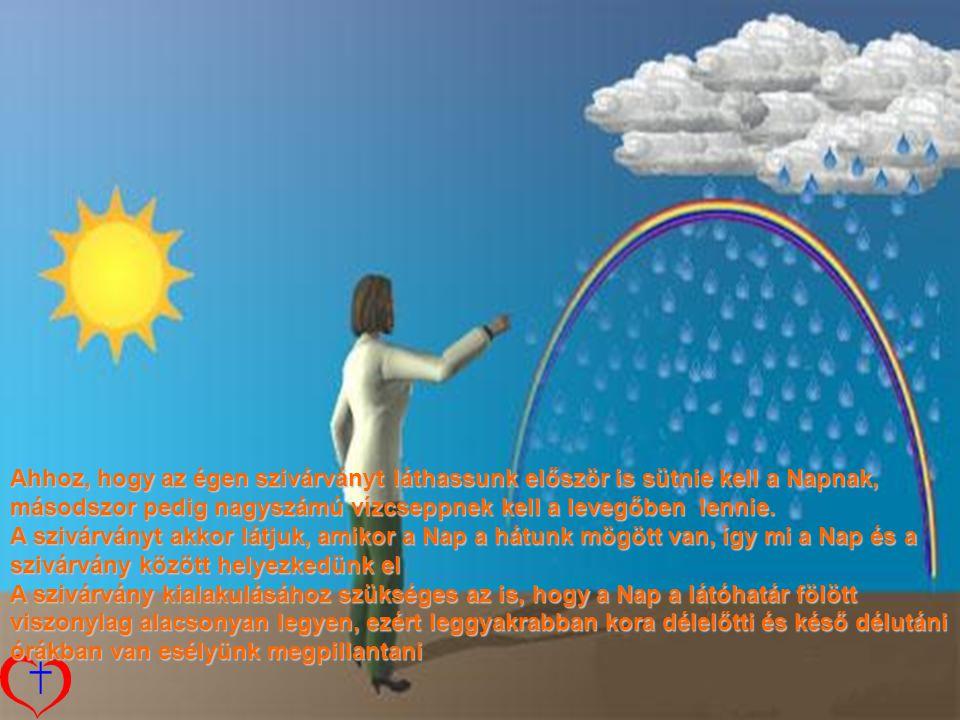 Ahhoz, hogy az égen szivárványt láthassunk először is sütnie kell a Napnak, másodszor pedig nagyszámú vízcseppnek kell a levegőben lennie.