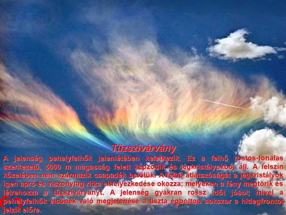 Tűzszivárvány A jelenség jelenség pehelyfelhők jelenlétében keletkezik.