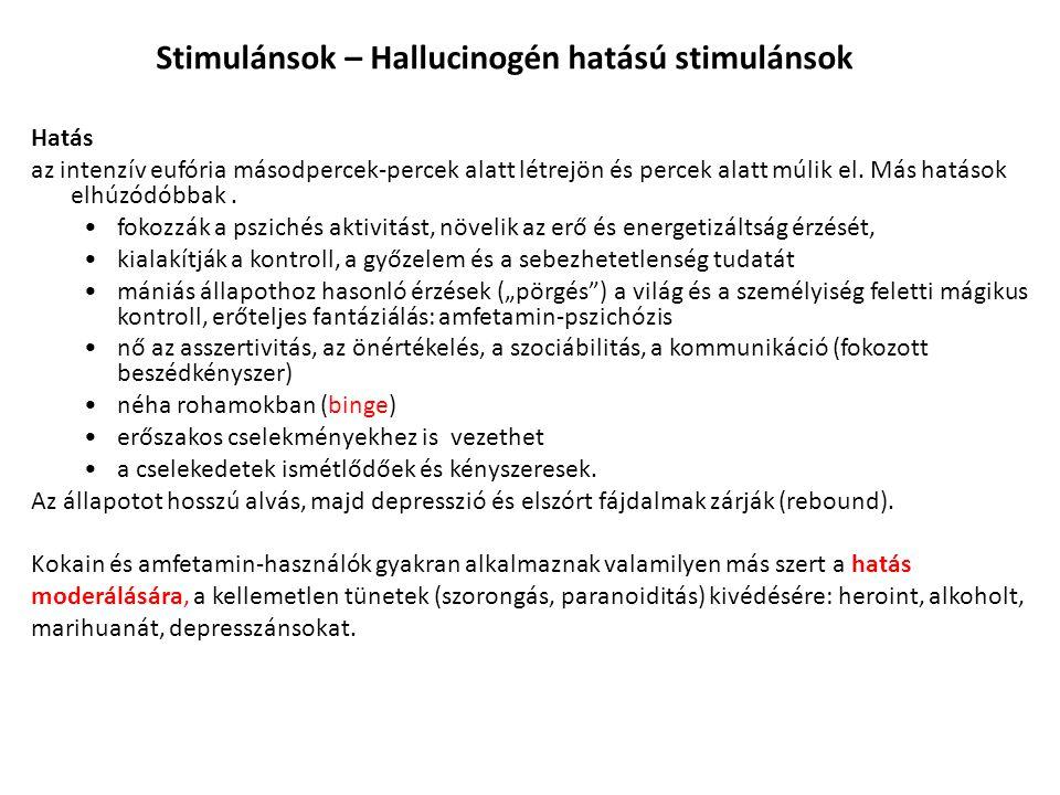 """Ketamin (ICA) Magyarországon érzéstelenítőként használják (Calypsol), illetve az állatgyógyászatban a """"disszociatív érzéstelenítők közé sorolható (a PCP- vel): nem a hallucináció dominál (vagy nincs is), hanem a megváltozott, a környezettől és az éntől eltávolodott, disszociatív tudatállapot; nagy dózisban delíriumot, kómát, amnéziát, motoros zavarokat, hipertenziót, depressziót és potenciálisan halálos légzési zavarokat okoz."""