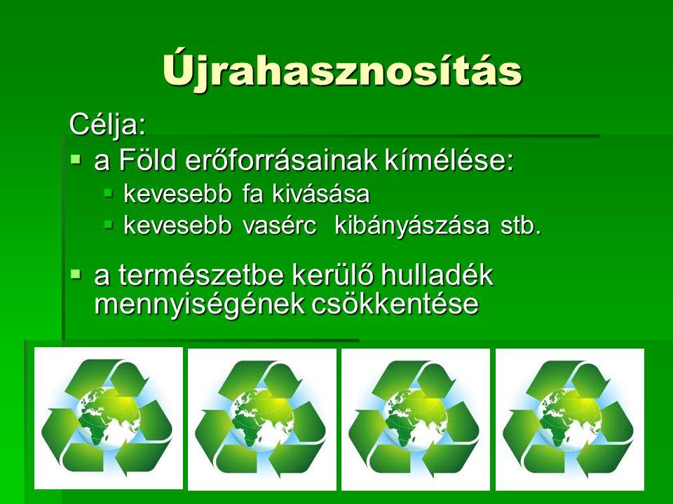 Újrahasznosítás Célja:  a Föld erőforrásainak kímélése:  kevesebb fa kivásása  kevesebb vasérc kibányászása stb.  a természetbe kerülő hulladék me