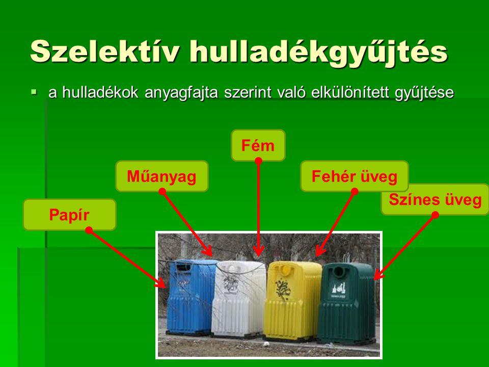 Szelektív hulladékgyűjtés  a hulladékok anyagfajta szerint való elkülönített gyűjtése Papír Műanyag Fém Színes üveg Fehér üveg