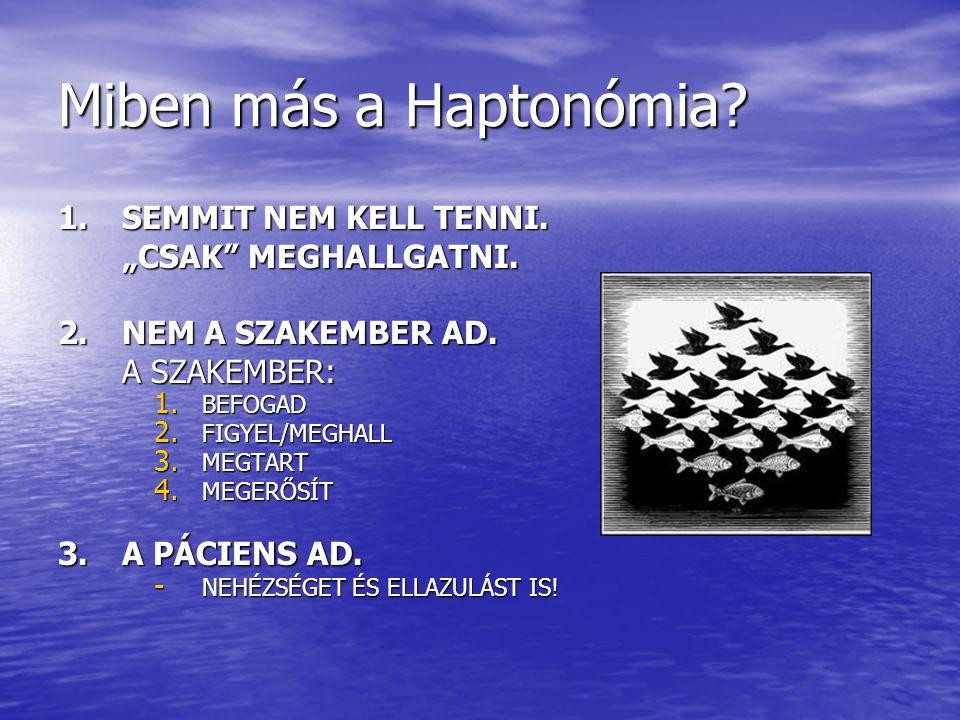 """Miben más a Haptonómia? 1. SEMMIT NEM KELL TENNI. """"CSAK"""" MEGHALLGATNI. 2.NEM A SZAKEMBER AD. A SZAKEMBER: 1. BEFOGAD 2. FIGYEL/MEGHALL 3. MEGTART 4. M"""