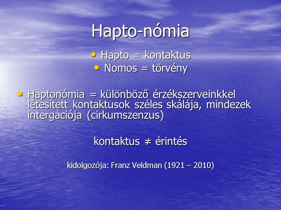 Hapto-nómia • Hapto = kontaktus • Nomos = törvény • Haptonómia = különböző érzékszerveinkkel létesített kontaktusok széles skálája, mindezek intergáci