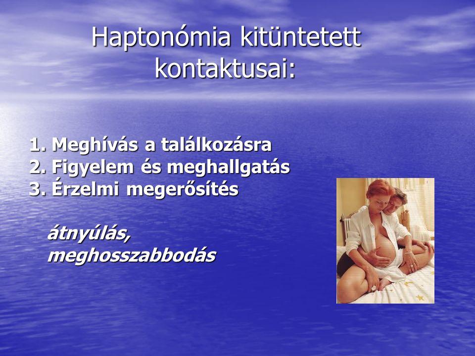 Haptonómia kitüntetett kontaktusai: 1. Meghívás a találkozásra 2. Figyelem és meghallgatás 3. Érzelmi megerősítés átnyúlás, meghosszabbodás meghosszab