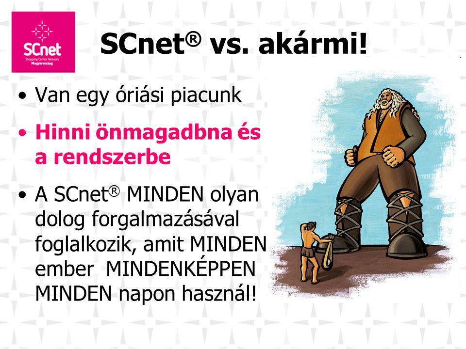 SCnet ® vs. akármi! •Van egy óriási piacunk •Hinni önmagadbna és a rendszerbe •A SCnet ® MINDEN olyan dolog forgalmazásával foglalkozik, amit MINDEN e