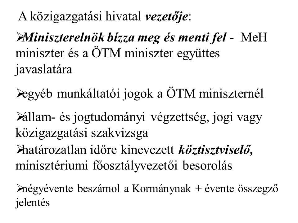 A közigazgatási hivatal vezetője:  Miniszterelnök bízza meg és menti fel - MeH miniszter és a ÖTM miniszter együttes javaslatára  állam- és jogtudományi végzettség, jogi vagy közigazgatási szakvizsga  határozatlan időre kinevezett köztisztviselő, minisztériumi főosztályvezetői besorolás  egyéb munkáltatói jogok a ÖTM miniszternél  négyévente beszámol a Kormánynak + évente összegző jelentés