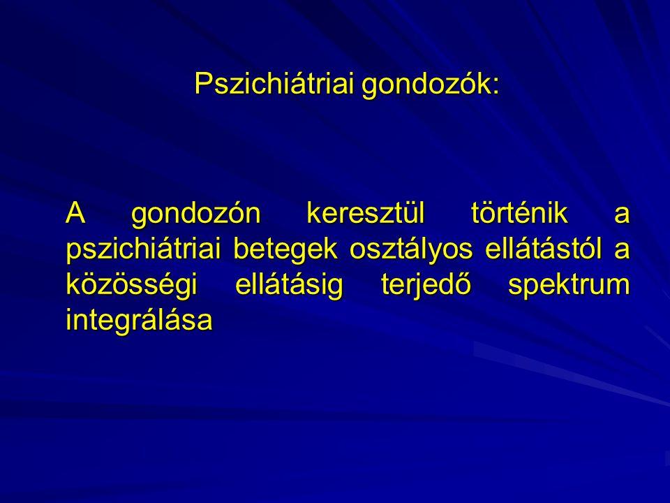 Pszichiátriai gondozók: Pszichiátriai gondozók: A gondozón keresztül történik a pszichiátriai betegek osztályos ellátástól a közösségi ellátásig terjedő spektrum integrálása A gondozón keresztül történik a pszichiátriai betegek osztályos ellátástól a közösségi ellátásig terjedő spektrum integrálása