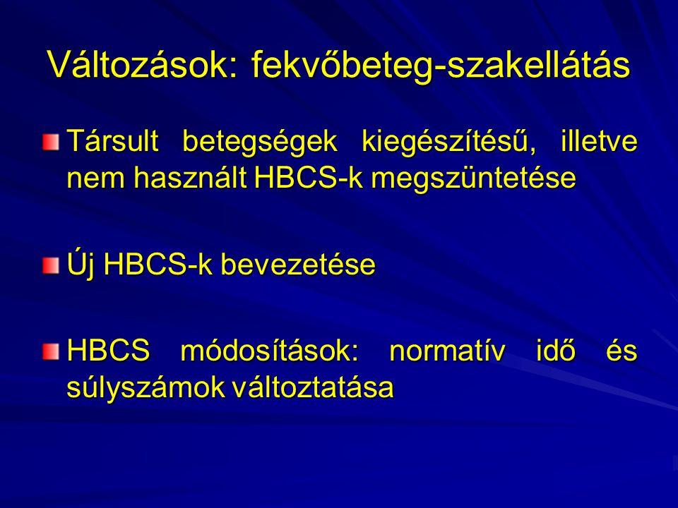Változások: fekvőbeteg-szakellátás Társult betegségek kiegészítésű, illetve nem használt HBCS-k megszüntetése Új HBCS-k bevezetése HBCS módosítások: normatív idő és súlyszámok változtatása