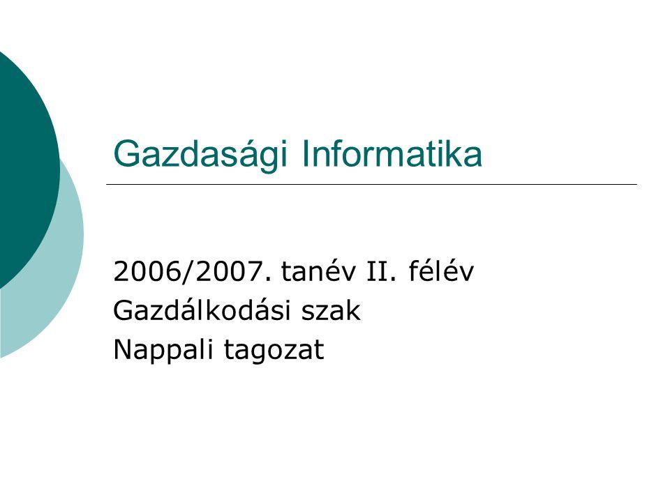 Gazdasági Informatika 2006/2007. tanév II. félév Gazdálkodási szak Nappali tagozat