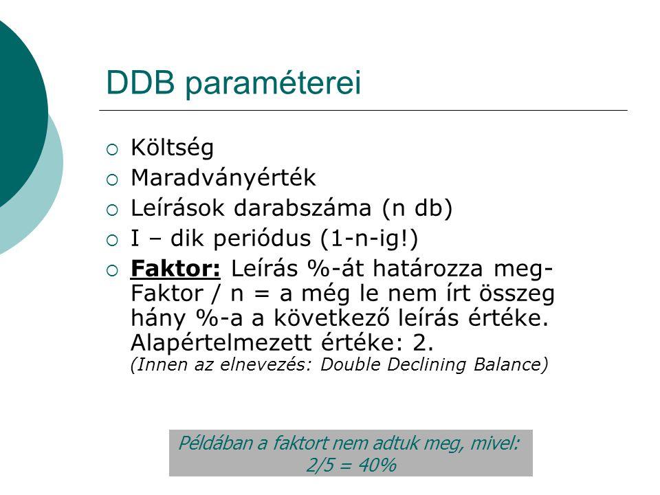 DDB paraméterei  Költség  Maradványérték  Leírások darabszáma (n db)  I – dik periódus (1-n-ig!)  Faktor: Leírás %-át határozza meg- Faktor / n =