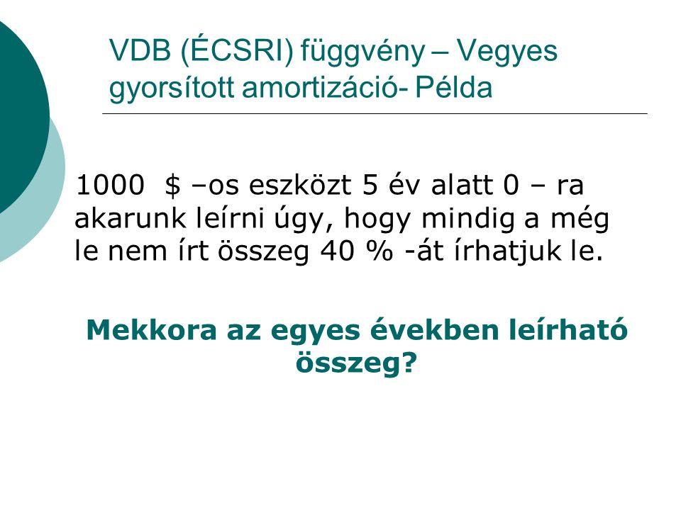 VDB (ÉCSRI) függvény – Vegyes gyorsított amortizáció- Példa 1000 $ –os eszközt 5 év alatt 0 – ra akarunk leírni úgy, hogy mindig a még le nem írt össz